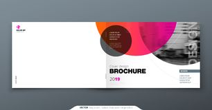 Pink Brochure design. Horizontal cover template for brochure, report, catalog, magazine. Layout with gradient circle. Shapes and abstract photo background vector illustration