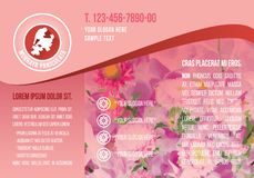 Pink A4 brochure template, red flower logo with demo text, floral icon flyer, flora textbox purple landscape banner. Pink A4 brochure template, red flower logo Stock Image