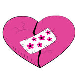 Pink broken heart with a patch. Royalty Free Stock Photography