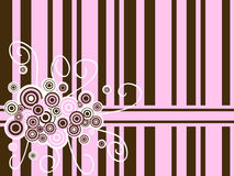 Pink brown backdrop. Background with pink and brown circle and curl ornament Stock Images