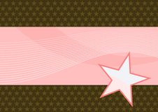 Pink and brown background. An abstract illustrated background of predominantly pink and brown colors with on large white star in the lower right corner. Brown royalty free illustration