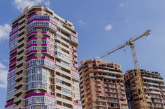 Pink and brown built residential buildings Stock Photos