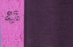 Pink and Brown Fabric. A close up shot of decorated pink cotton fabric and plain brown cotton fabric Stock Image