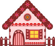 Pink and Brown Gingerbread House Illustration Stock Images