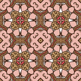 Pink-brown pattern. Delicate seamless pattern with ethnicity motif Stock Image