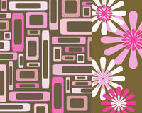 Pink and brown rectangles and flowers collage Royalty Free Stock Photo