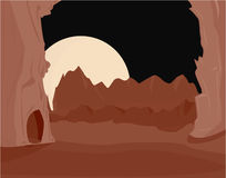 Pink brown red landscape. Pink and brown red landscape with large moon at night vector illustration
