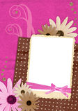 Pink and brown scrapbook page. For one photo in retro style with decorations Royalty Free Stock Photo