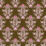 Pink and brown seamless vector wallpaper. Seamless repeating vector victorian wallpaper Stock Photography