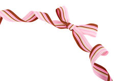 Pink and brown striped ribbon and bow isolated Royalty Free Stock Photography