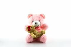 Pink and brown teddy bear. Stock Image