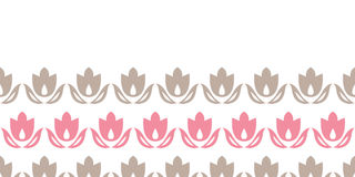 Pink and brown tulips stripes horizontal seamless Royalty Free Stock Photos