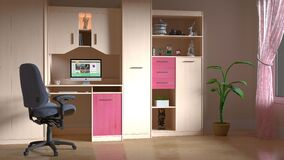 Pink and Brown Wooden Computer Desk Hutch Stock Photography
