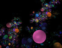 Pink bubble fractal background. Colorful bubbles fractal background on black with pink dominant circle royalty free illustration