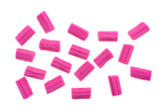 Pink bubble gum on a white background Stock Images