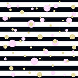 Pink bubbles, gold glitter polka dots and stripes. Seamless background Stock Image