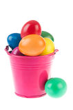 Pink bucket easter eggs Stock Photos