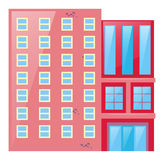 Pink building with glass windows. Illustration Royalty Free Stock Photos
