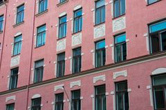 Pink building on a sunny summer day. Helsinki, Finland. August 27, 2017. Pink building on a sunny summer day Stock Image