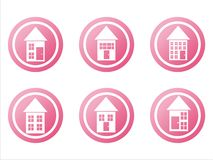 Pink buildings signs Stock Photography
