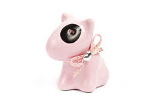 Pink Bull Terrier Porcelain figurines Royalty Free Stock Photography