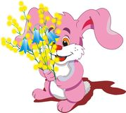 Pink Bunny with a bouquet of spring flowers on a transparent background. Stock Photo