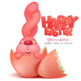 Pink bunny in broken egg. Easter invitation card Royalty Free Stock Image