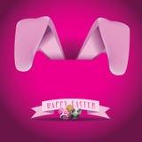 Pink Bunny ears Easter design Stock Photos