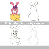 Pink Bunny in eggshell. Drawing worksheet. Royalty Free Stock Photo