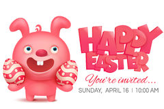 Pink bunny emoji character holding easter egg Royalty Free Stock Image