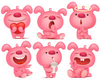 Pink bunny emoji character set with different emotions and situations. Stock Images