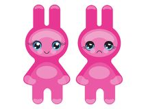 Pink Bunny emoticon Stock Images