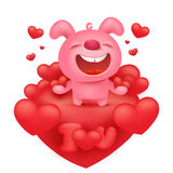 Pink bunny emoticon cartoon character with red hearts Royalty Free Stock Images