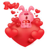 Pink bunny emoticon cartoon character with red hearts Stock Images