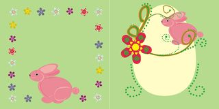 Pink bunny and flowers. There are two compositions with the pink bunny. The first one is with a green text background and flowers border. the second one is with Stock Images
