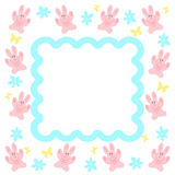 Pink bunny frame Royalty Free Stock Image