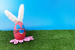 Pink bunny on garden. As Easter theme Royalty Free Stock Image