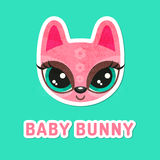 Pink bunny girl with extremely big eyes. Royalty Free Stock Photo