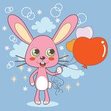 Pink bunny and heart balloon. Royalty Free Stock Photography