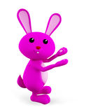 Pink Bunny with presenting pose. 3d Bunny with presenting pose Royalty Free Stock Images
