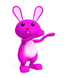 Pink Bunny with presenting pose. 3d Bunny with presenting pose Stock Photography