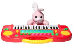 Pink bunny with synthesizer Stock Photo