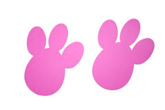 Pink bunny tracks top view royalty free stock images