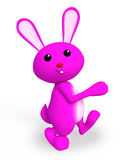 Pink bunny with walking pose. 3d bunny with walking pose Royalty Free Stock Photos