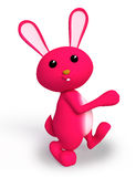Pink bunny with walking pose. 3d bunny with walking pose Stock Images