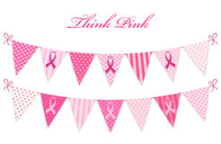 Pink bunting Breast Cancer Awareness and pink ribbons isolated on white background Stock Photos