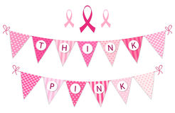 Pink bunting Breast Cancer Awareness and pink ribbons isolated on white background. Pink bunting Breast Cancer Awareness with pink ribbons isolated on white Stock Photos