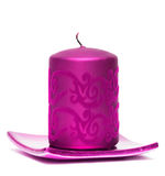 Pink burning candle Royalty Free Stock Photos