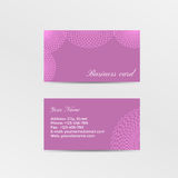 Pink business card decorated lacework Royalty Free Stock Photo
