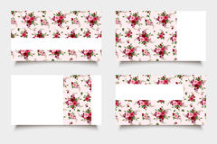 Pink business cards with rose patterns. Vector eps-10. vector illustration